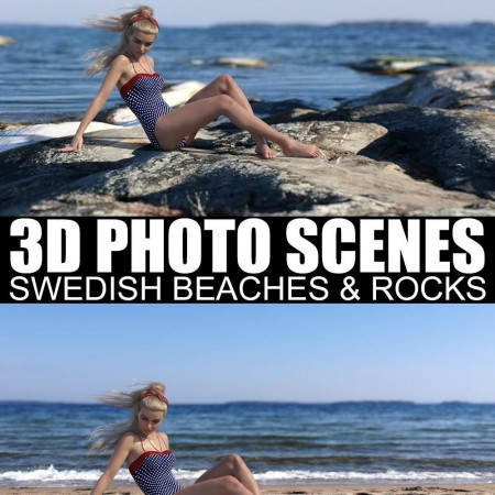 3D Photo Scenes - Swedish Beaches And Rocks