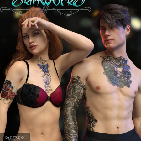 SkinWorks L.I.E. Tattoos for Genesis 3 and 8