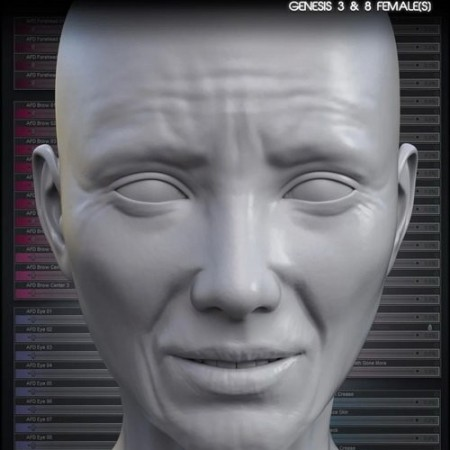 Daz3D - Aging Face Details HD for Genesis 3 and 8 Female(s)