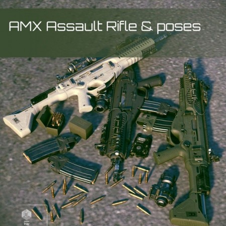 Daz3D Poser AMX Assault Rifle and Poses