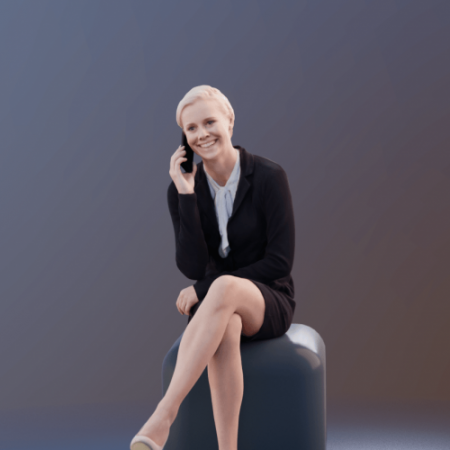 Business Woman Sitting Talking with Cellphone Scanned 3d model