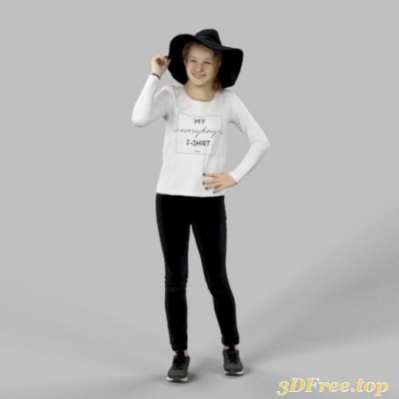 Young Caucasian Female in Jeans Standing Scanned 3d model