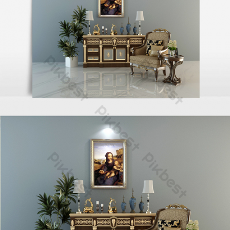 Combination of neoclassical table and chair ornamentsВ Decors & 3D ModelsВ TemplateВ MAX