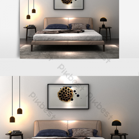 Cortical big bed chandelier combination modelВ Decors & 3D ModelsВ TemplateВ MAX