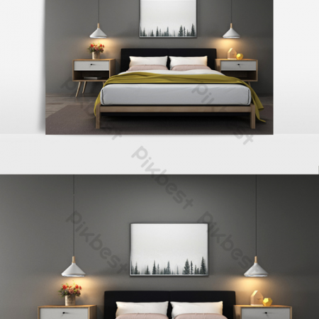 Bedroom double bed bedside table chandelier combination modelВ Decors & 3D ModelsВ TemplateВ MAX