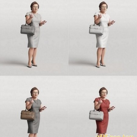 Aged Woman Standing and Talking 3D model