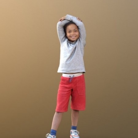 Casual child boy standing and Smiling Scanned 3d model