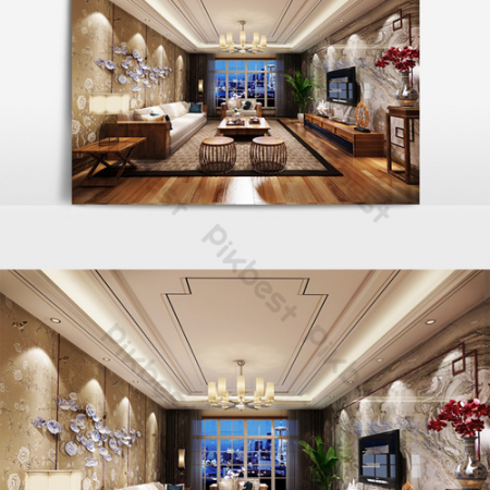 New Chinese style home improvement living room renderingsВ Decors & 3D ModelsВ TemplateВ MAX