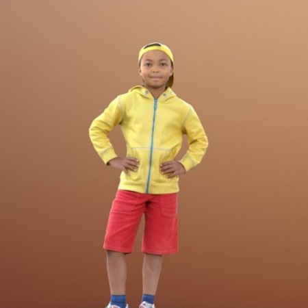 Casual child boy standing 02 Scanned model