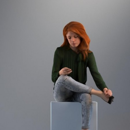 Casual Girl Sitting 3d model