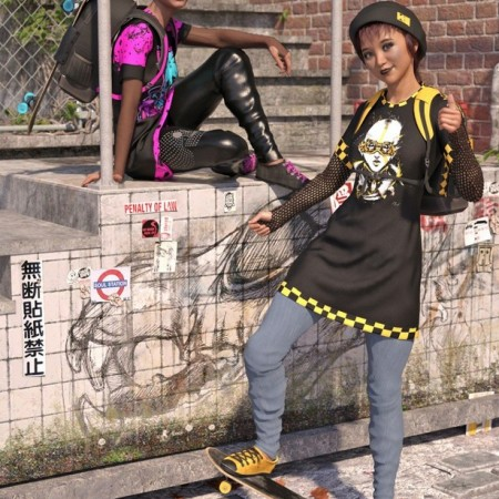 dForce Skate Punk with Skateboard Textures