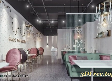 Restaurant & coffee Shop Interior Scene 03
