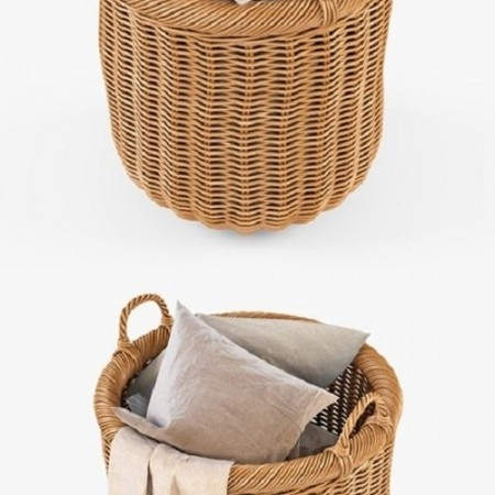 Basket with linen 007 Natural color