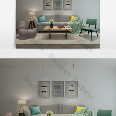 Nordic minimalist sofa floor lamp combinationВ Decors & 3D ModelsВ TemplateВ MAX