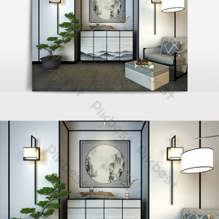 New Chinese end view cabinet wall lamp leisure sofa bonsai tree combination 3D modeВ Decors & 3D ModelsВ TemplateВ MAX