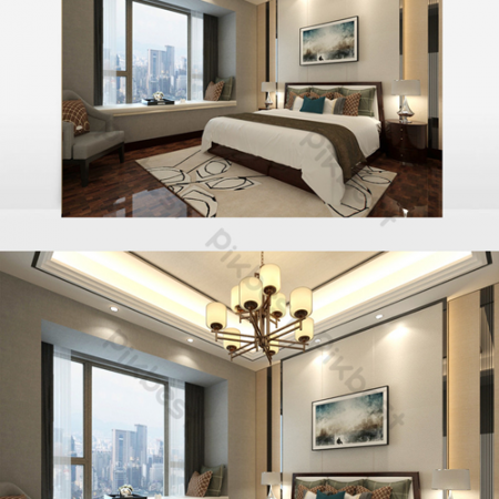 New Chinese style bedroom renderingsВ Decors & 3D ModelsВ TemplateВ MAX