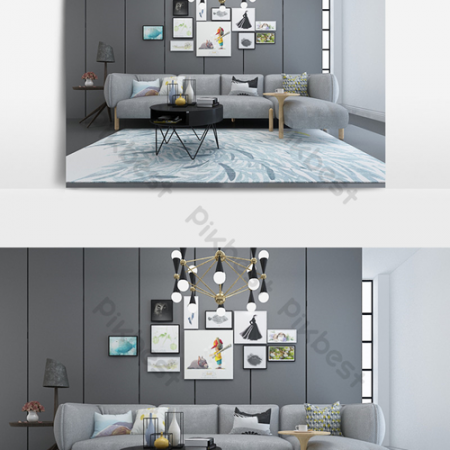 Metal chandelier gray minimalist living room modelВ Decors & 3D ModelsВ TemplateВ MAX