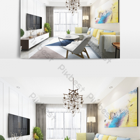 Fresh color matching simple living room dining room modelВ Decors & 3D ModelsВ TemplateВ MAX