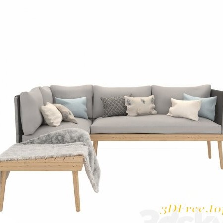 Ramdom couch in natural eucalyptus