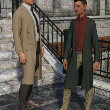 dForce Trench Coat Outfit for Genesis 8 Male(s)