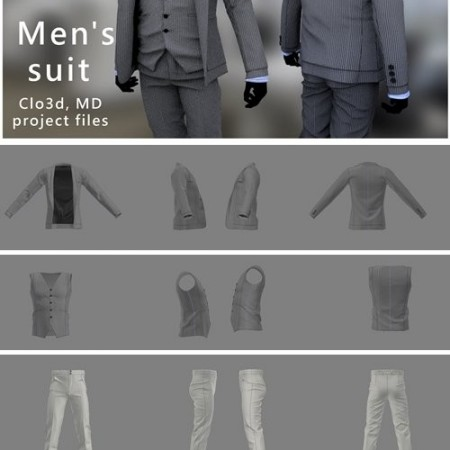 Men's suit. Marvelous Designer, Clo3d project files
