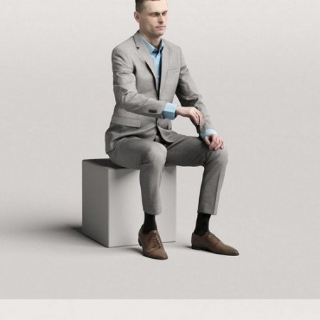 Humano Elegant business man sitting and typing 0117 3D model