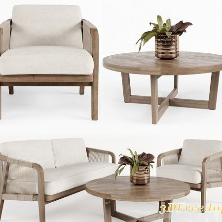 Outdoor Furniture w001 3D Model