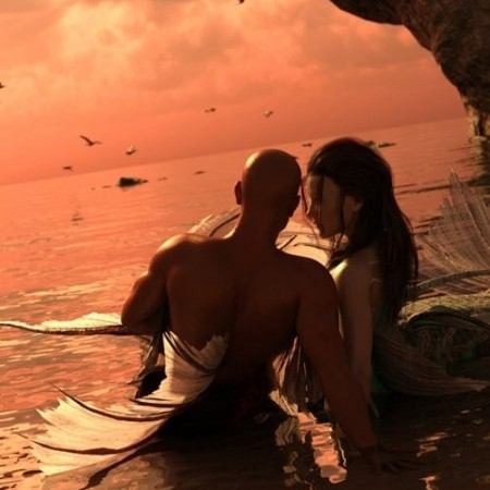 Daz3D - Aguja Mermaid and Alascanus Merman Couple Poses
