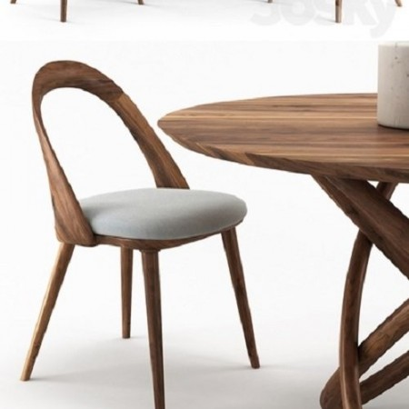 NORHOR Bergen round table and Walnut chair