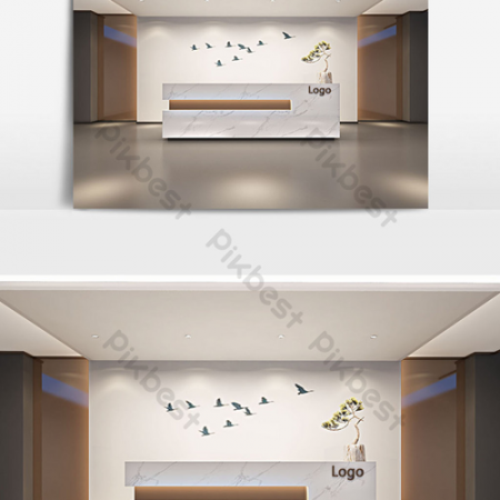 Simple Chinese lobby front renderingВ Decors & 3D ModelsВ TemplateВ MAX