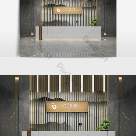 New Chinese-style lobby reception room interior renderingsВ Decors & 3D ModelsВ TemplateВ MAX