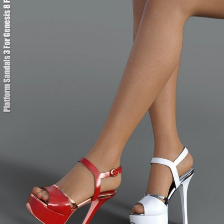 Platform Sandals 3 for Genesis 8 Female(s)