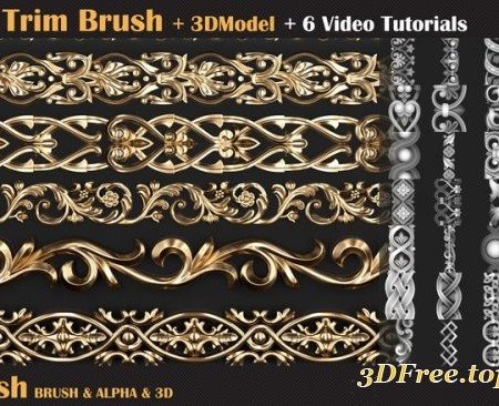 Ornament Trim Brush and 3D Models + 6 Video Tutorials VOL 02