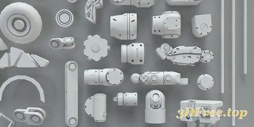 3D Kitbash - 268 Metal Piece Parts