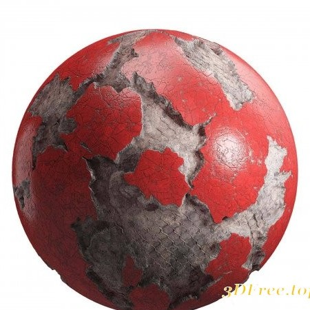 Damaged Red Painted Wall PBR Texture