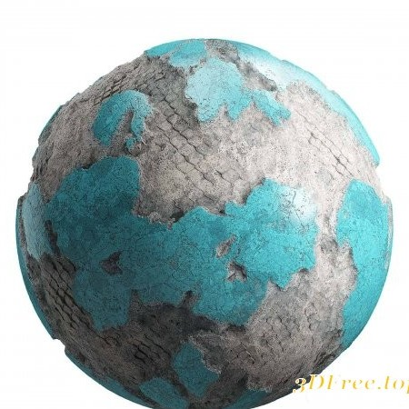 Damaged Cyan Painted Wall PBR Texture