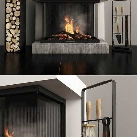 Fireplace and accessories 3d Model