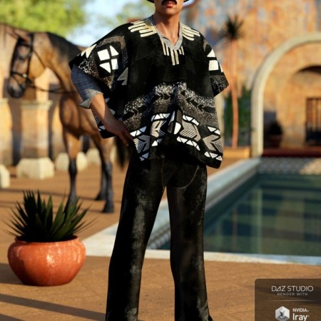 dForce Western Poncho Outfit for Genesis 8 Male(s)