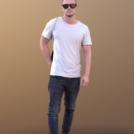 Rick 10497 - Walking Casual Guy VR / AR / low-poly 3d model