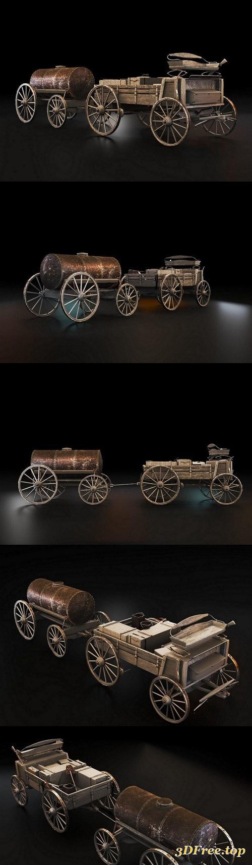 Waggon with Barrel – 3D Model