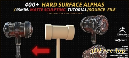 Artstation – 400+ HARD SURFACE ALPHAS /45MIN. MATTE SCULPTING TUTORIAL/SOURCE FILE