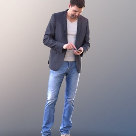 Casual Man Checking phone 3d model