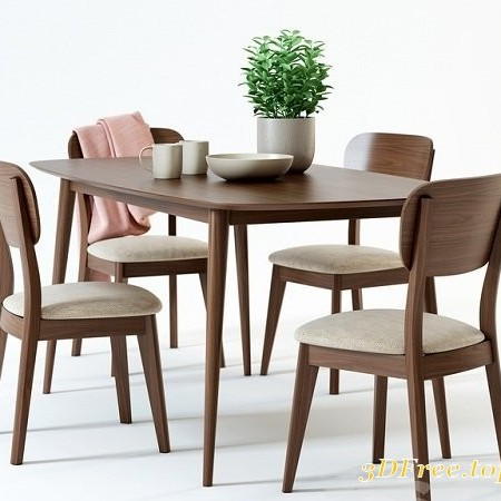 Scandinavian Designs Juneau Dining Table & Juneau Dining Chair