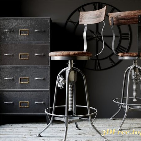 Industrial Clock House Stool
