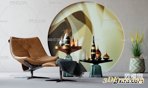 Modern leather lounge chair 3d model