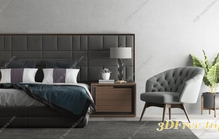 Modern double bed and nightstand combination