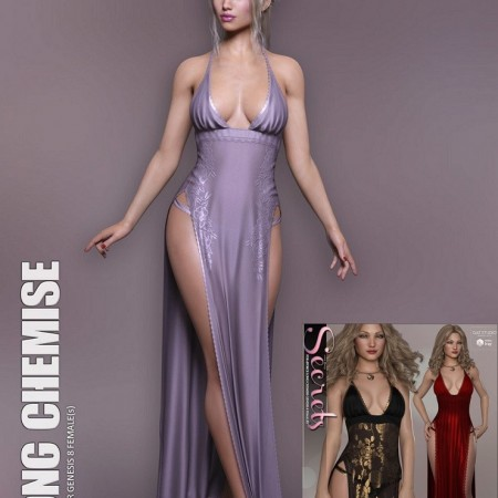dForce Long Chemise for Genesis 8 Females + Secrets