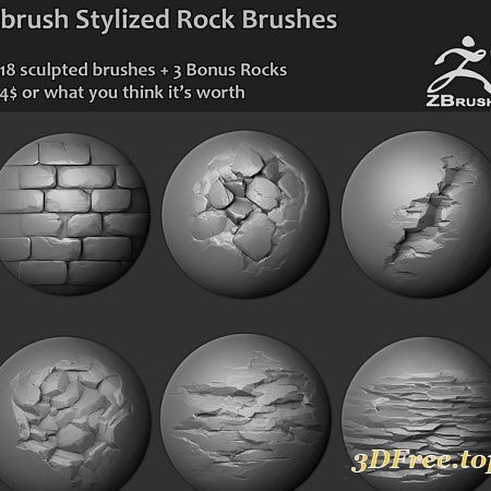 Gumroad – Zbrush – 18 Stylized Rock Brushes + 3 Ztool rock meshes and mini tutorial