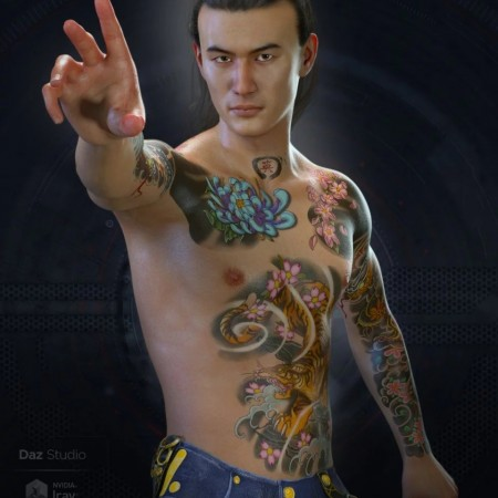 Asian SkinWorks L.I.E. Tattoos for Genesis 3 and 8 Male(s)