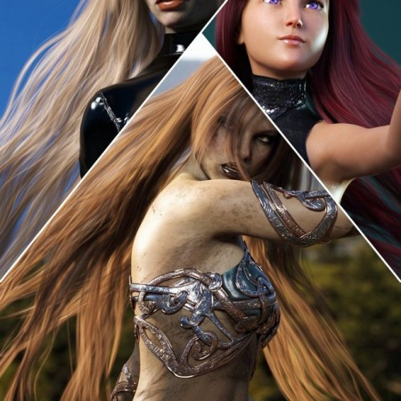 Turbulent Long Hair for Genesis 3 and 8 Females
